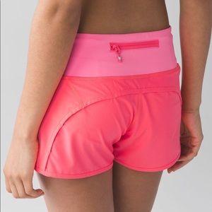 Lululemon Hot Pink High Rise Speed Up Shorts